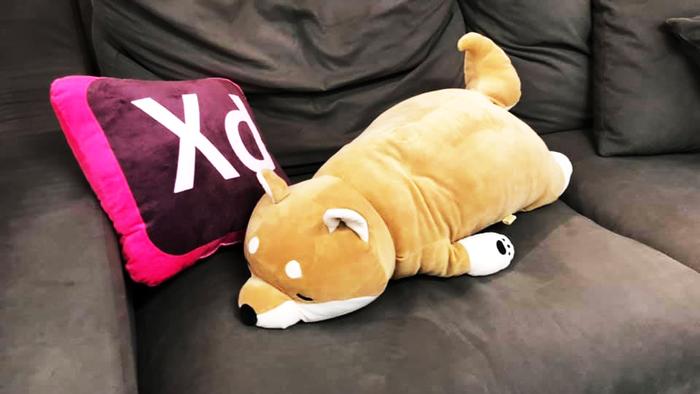写真:MAX Storeで入手したAdobe XDクッションと犬のクッション「コタロー」